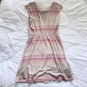 Sonoma - Tan and pink striped Dress